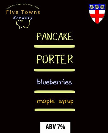pancake porter brewed by Five Towns Brewery